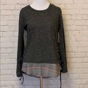 Lace Up Charcoal & Plaid Jersey NWT